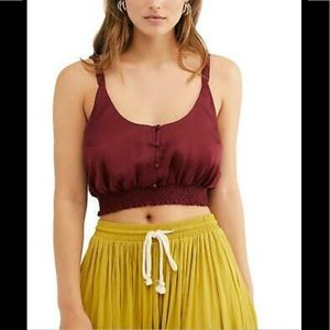 Free People You Honey Satin Crop Top Pomegranate L